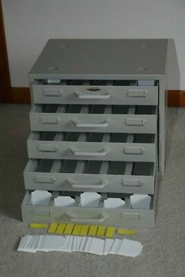 Neumade Slide / Coin / Small Parts Metal Cabinet - 5 Drawers, Holds 5,000 Slides