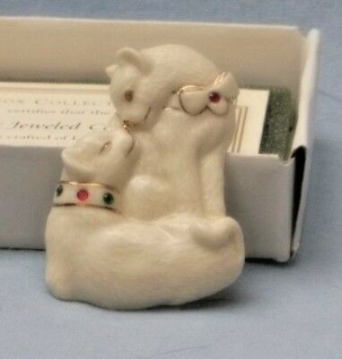 Lenox -Jeweled Ivory Cat Pin-New In Box With Cert Of Authenticity -Pristine Con