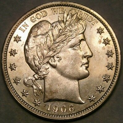 1906 D Barber Silver Half Dollar Appealing Beautiful Crisp W/scarce Repunched 1