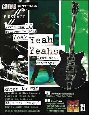 Yeah Yeah Yeahs Nick Zinner Black Delia First Act guitar 8 x 11 contest ad print