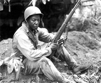 WW2  Photo WWII Black US Soldier M1 Garand Pacific 1945  World War Two / 1562