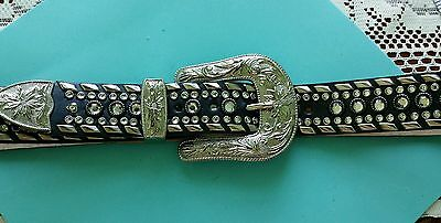 Designer Handcrafted Leather Belt Size M/L with Beautiful Heavy Crystal Details
