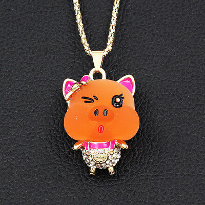 Resin Crystal Lovely Little Pig Pendant Animal Necklace Women's Gift Jewelry