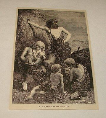 1876 magazine engraving ~ MAN IN EUROPE IN STONE AGE, Caveman