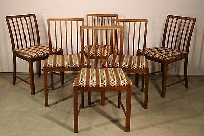 Vintage 6 big Danish mid century dining chairs genuine 1950's original Art Deco