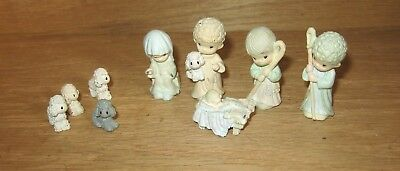 Precious Moments Miniature Pewter Christmas Nativity 9 Piece Set