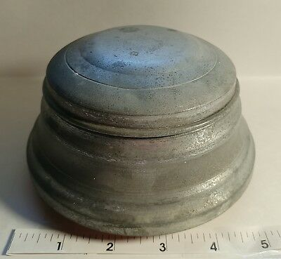Vintage Metal Tin Vanity Powder Puff  Music Box Plays The Impossible Dream