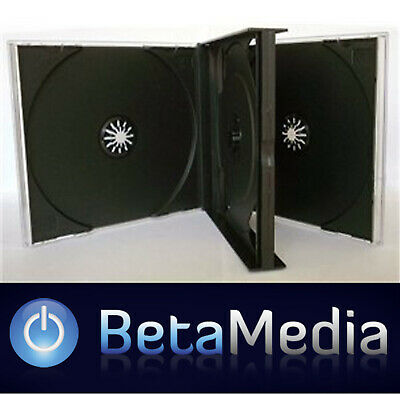 10 x Triple Jewel CD Cases with Black Tray - 3 Disc 24mm spine - High Quality