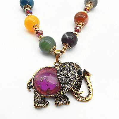 Antique Bronze Elephant Crystal Pendant Ball Beads Necklace Sweater Chain