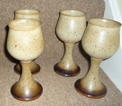 Vintage Set of Four Hand Crafted Iden Pottery Rye Sussex Medieval style Goblets