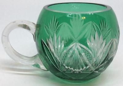 Antique Vtg emerald green Cut to Clear tea punch full sized round ball cup