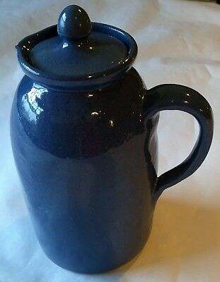 """Large 8"""" Bybee Kentucky Pottery Pitcher~Blue~Vintage~WITH LID"""
