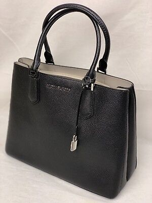 5eba12d6f77882 NWT Michael Kors Adele Mercer Large Satchel Crossbody Bag Black Cement MK  Silver