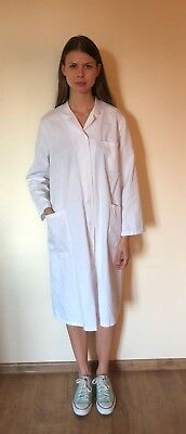 White Cotton Doctor Nurse Scientist Chemist Coat Uniform Scrub Size Medium Large