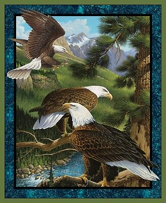 American Eagle Flying Over American Flag at Edge of Mountains Cotton Panel