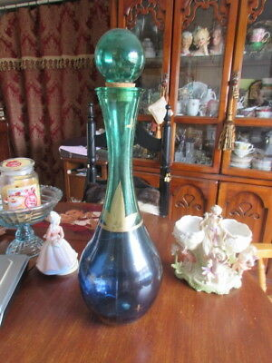 """#X8 hand made San Miguel Spain  vase green blue gold recycled glass  21""""in tall"""
