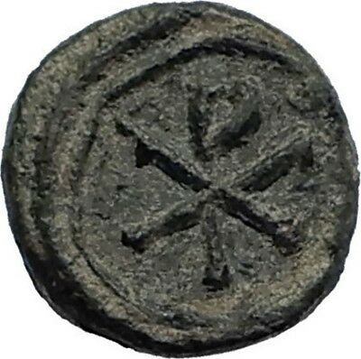 JUSTINIAN I the Great Ancient Nummus RARE Byzantine Carthage Coin CHI-RHO i71739