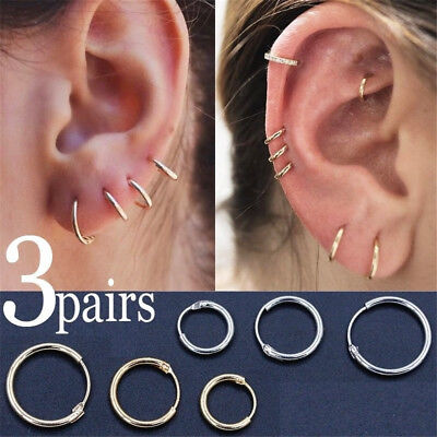 3Pairs Fashion Simple Vintage Circle Small Hoop Earrings Set Women Punk Earrings