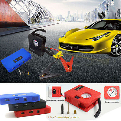 12V Car Jump Starter Booster Portable Auto Charger Power Bank + Air Compressor