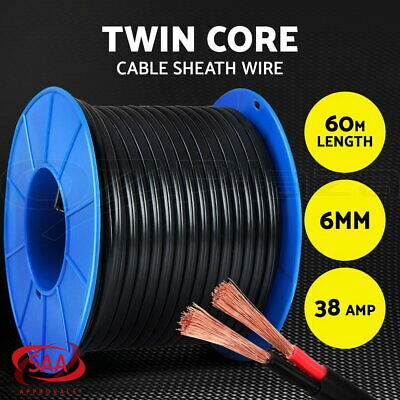 Twin Core Wire Electrical Cable 60M 6MM SAA 2 Sheath Automotive CARAVAN 4X4 12V