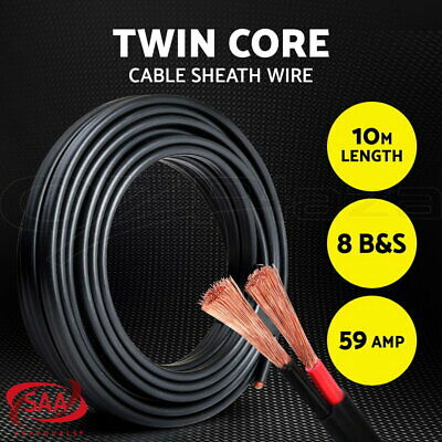8B&S Electrical Cable Twin Core Extension Wire 10M Car Solar Panel 450V 2 Sheath