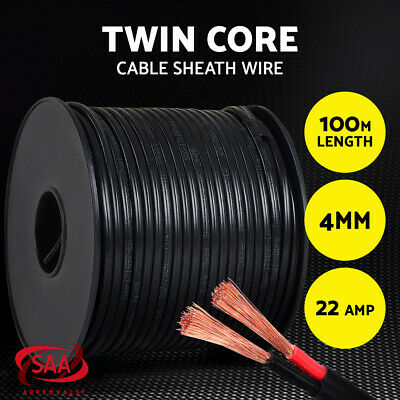 Twin Core Wire 100M 4MM SAA 2 Sheath Electrical Cable Automotive CARAVAN 4X4 12V