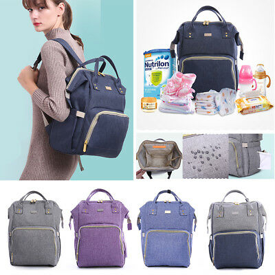 Waterproof Large Mummy Baby Diaper Nappy Backpack Mom Changing Travel Tote Bag