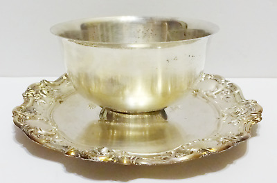 Vintage Sauce Chip Dip Bowl Towle Silver Plate Bowl & Tray Platter