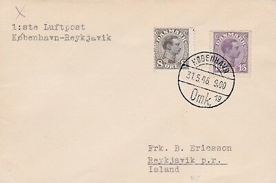 1946 Denmark Luftpost First Flight Cover Posted From Denmark To Iceland 45*