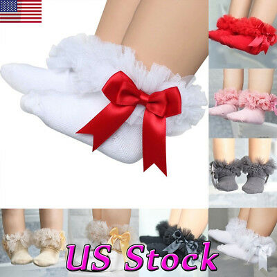 US Toddler Baby Kid Girl Ruffle Princess Socks Bowknot Frilly Cotton Ankle Socks