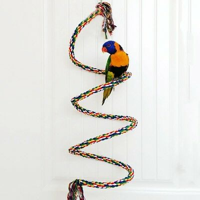 Parrot Rope Toy Budgies Spiral Cotton Rope Bird Pets Perch Chew Toy Colorful
