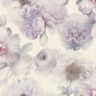 Diamond Bloom Floral Wallpaper Lavender - Arthouse 257003 Glitter New
