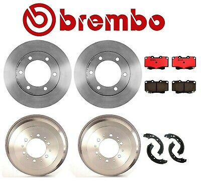 Front Rotors and Pads /& Rear Drum and Shoes for 2010-2014 Toyota Tacoma 6 lugs