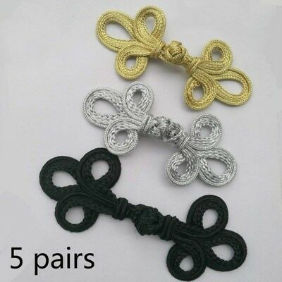 5 Pairs Large Chinese Frog Fasteners Closure Button Knots Black Silver Gold New