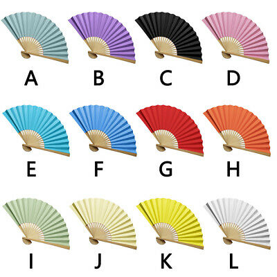 Chinese style Hand Held Fan Bamboo Silk Folding Fan Party Wedding Decor Paper GW