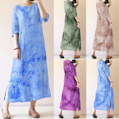 Vintage Ladies Chinese Style Floral Baggy Long Maxi Dress Womens Party Sundress