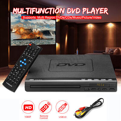 Portable DVD CD USB Player Multi-Region/Multi-System + Remote Controller