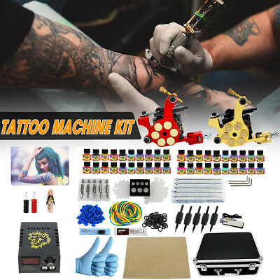 Complete Tattoo Kit 2 Machine Power Supply 40 Color Ink 50 Needles 10 Tips Case