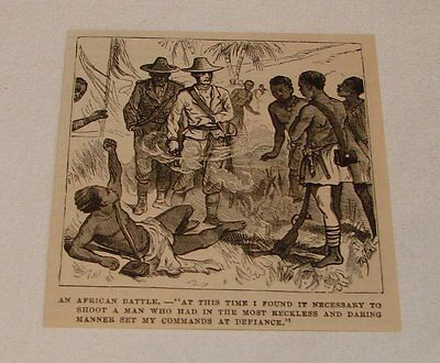1879 magazine engraving ~ AFRICAN BATTLE, Shooting a Native