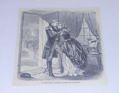 1885 magazine engraving ~ WASHINGTON PARTING FROM HIS MOTHER