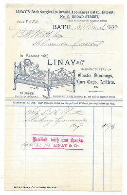 1903 Billhead, Linay's Surgical & Invalid Appliances, Broad St, BATH Somerset