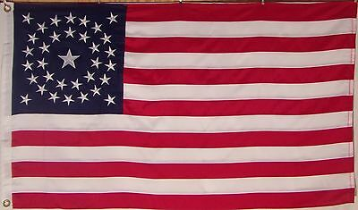 HEAVY 600D 34 STAR AMERICAN FLAG - OUTDOOR embroidered & sewn - HISTORICAL USA