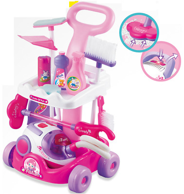 Childrens PINK Cleaning Trolley Cart Role Play Toy Set & Working Vacuum Cleaner