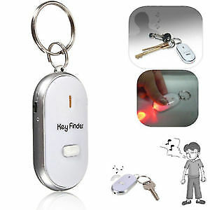 Portable Mini LED Key Finder Locator Find Lost Keys Chain Keychain Whistle Sound