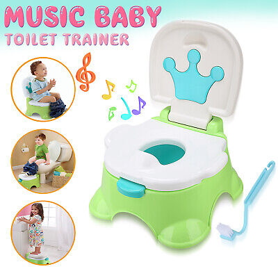 3 in 1 Baby Toilet Trainer Toddler Music Potty Child Training Seat Safety Green