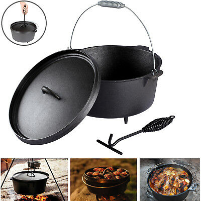 Cast Iron Outdoor Dutch Oven Pot Campfire Cookware Bushcraft Preseasoned Cooking