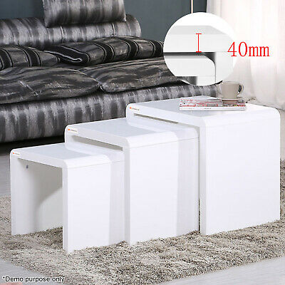 High Gloss Nest of 3 Coffee Tables Side End Table Set Living Room Furniture