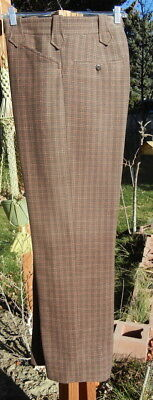 Heavy Vintage Woolen Western Pants 36x30 - Thick Plaid Winter Trousers FREE SHIP