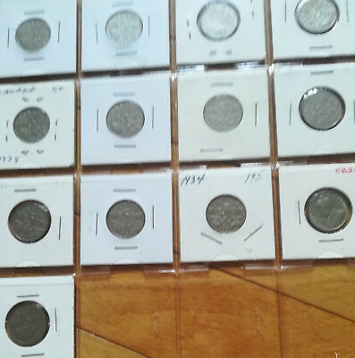 Set of Canada Five Cents (1922-1936 Nickels) NICE GRADE COIN