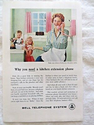 """1959 Bell Telephone Ad Woman Kids """"Why You Need a Kitchen Extension Phone"""" #8636"""